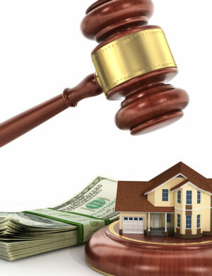 House auction concept. 3d illustration of wooden gavel with house and money on white background.